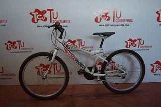 Bicicleta montaña 24 pulgadas blanca roja