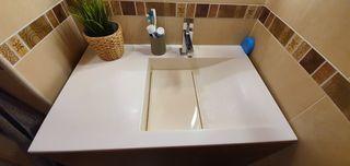 Lavabo Royo Bath resina blanco roto mate