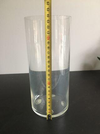 Jarrón cilíndrico vidrio, cristal, altura 24cm
