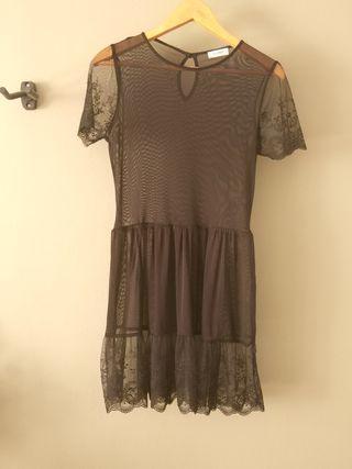 Vestido transparente negro Pull&bear