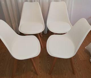 4 sillas color blanco Nuevas a estrenar