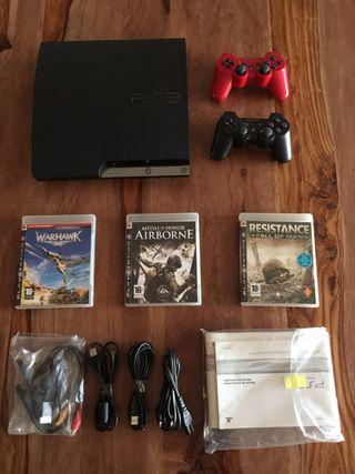 PS3 160Gb + 2 mandos + 3 juegos
