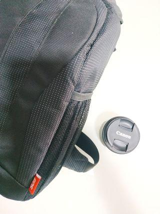 Objetivo canon 18-55 + bolso de fotografía