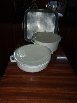 dos cazuelas microondas yuna fuente de horno