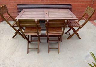 """Mesa y sillas plegables """"madera teca"""""""