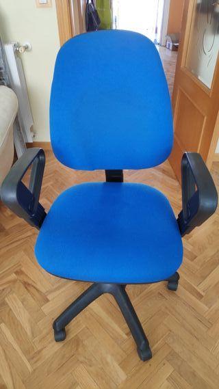 silla de oficina azul tela