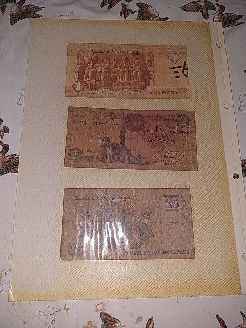 billetes Egipto, Ecuador y 100 pesetas