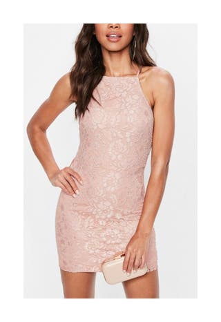 Miss Guided Pink Lace Dress