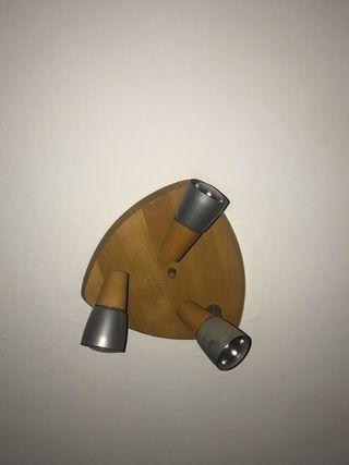 Lámpara triple de techo madera
