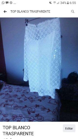 blusa blanca encaje talla sm