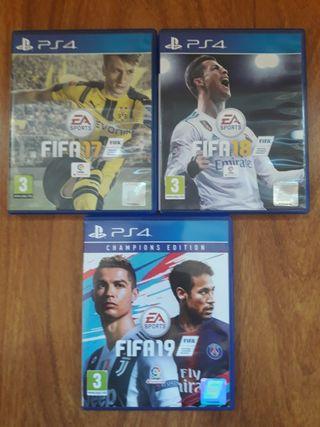 FIFA 17, 18 y 19. (Ps4)