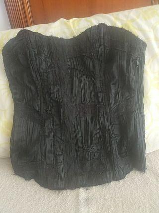 Corset Negro raso, como nuevo!