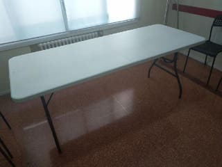 mesa maleta resina plegable blanca -metal