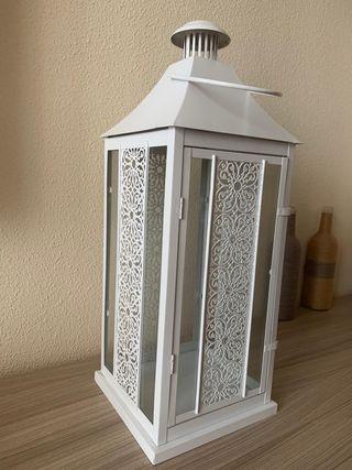 Farol porta velas blanco