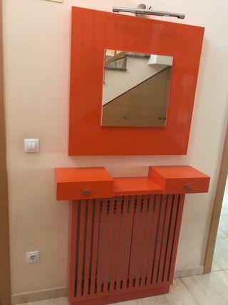 Espejo + Mueble con cubreradiador