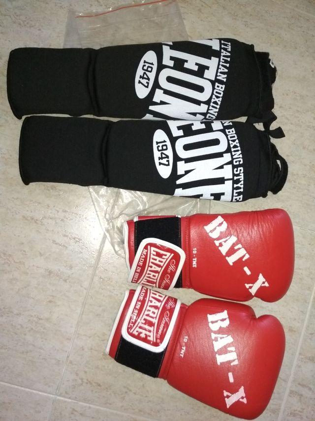 guantes y espinilleras kick boxing