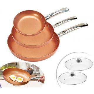 SET 3 SARTENES COPPER PAN, ANTIADHERENTES