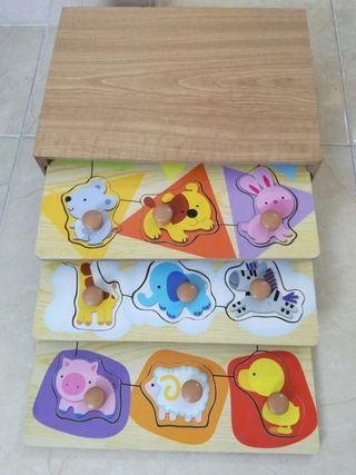 3 puzzles de madera y caja a juego