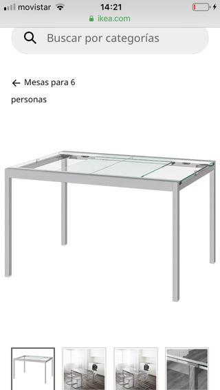 Mesa cristal extensible ikea + 4 sillas