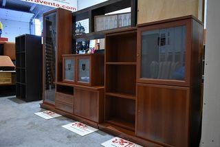 Mueble salon modular cerezo con vitrina 302 cm