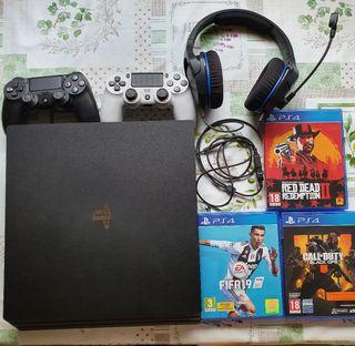 PS4 Pro1tb + 2mandos + 3juegos + auriculares