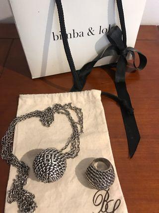 Collar y anillo conjunto Bimba y Lola
