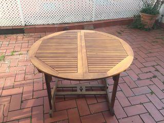 Conjunto mesa exterior extensible y 6 sillas