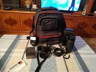Camara analogica,teleobjetivo y accesorios