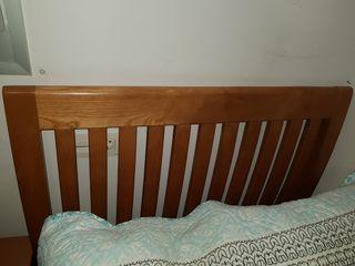 Conjunto cabecero, mesita y estantería madera