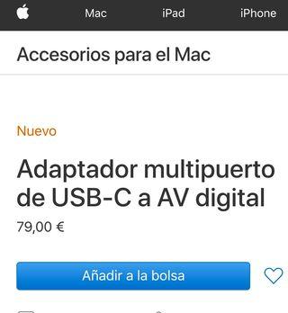 Adaptador USB-C Multipuertos AV, HDMI, USB Origina