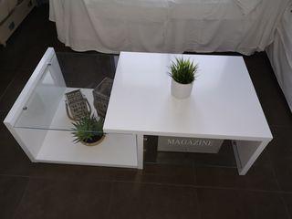 Mesa centro blanca y cristal