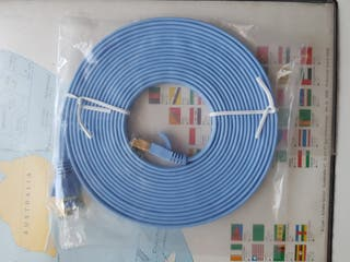Cable plano Ethernet CAT7 Blindado Azul