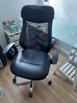 silla sillon escritorio oficina piel y tela negro