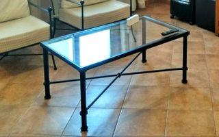 Mesa de forja artesanal nueva con cristal