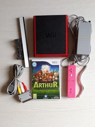 Wii Mini Roja (Consola+Mando+Juego+ Cables)