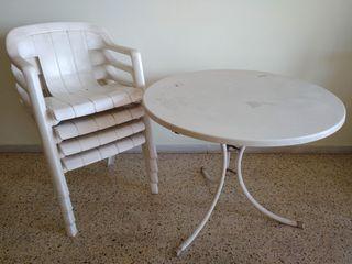 Conjunto 4 sillas + mesa jardín / terraza / balcón