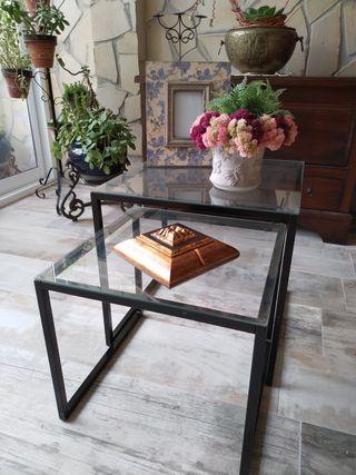 Dos mesas d cristal auxiliar