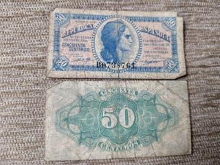 Dos billetes 50 cts 1937