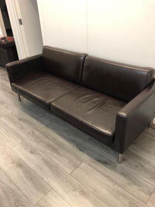 5 x Dark brown 3 seater sofas