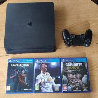 PS4 (Play Station 4) + 1 mando + 3 juegos