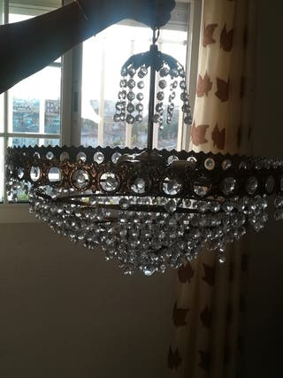 Lámpara antigua de lágrimas de cristal