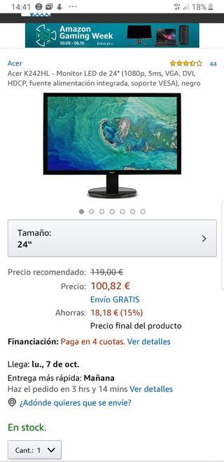 monitor Acer K242hl led full HD (1080p) 24 pulgada