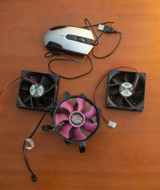 Ventilador de CPU y 2 ventiladores para PC + mouse