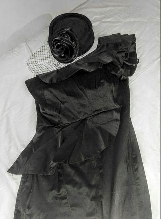 vestido negro noche boda entallado Talla M pin up