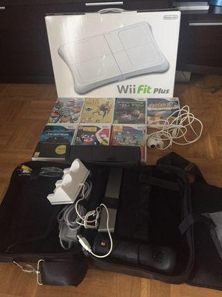 Wii + juegos + tabla fit plus + funda protectora