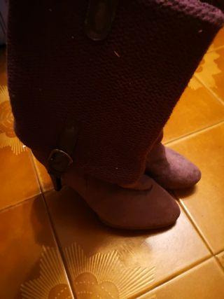 botas de tacon lilas