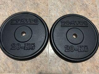 2 discos pesas de 20 kg domyos