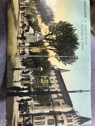 Postal antigua paseo de gracia barcelona