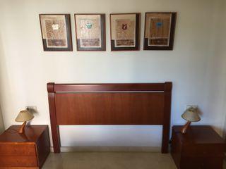 Cabezal cama 150 y mesitas en madera