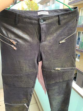 Pantalón Zara tipo piel/ mallas talla 38
